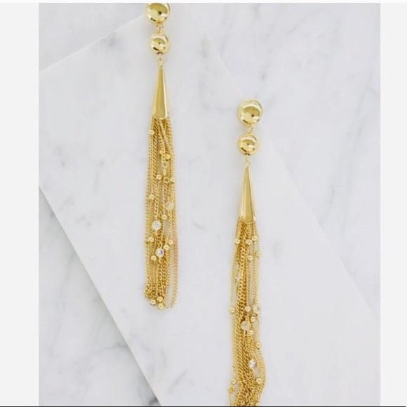 a6169d477 ettika Jewelry   Chloe Crystal Drop Tassel Gold Earrings   Poshmark